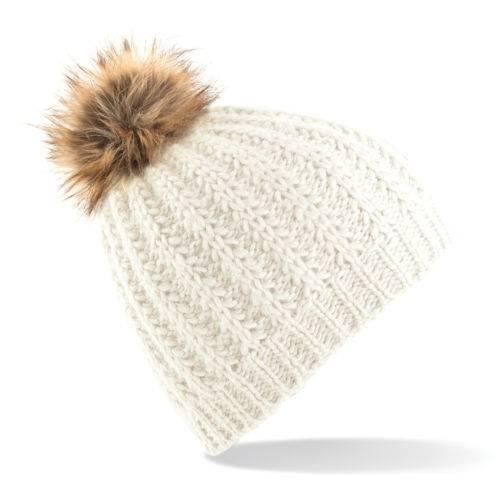 Faux-Fur-Pom-Pom-beanie-hat-headwear-bobble-knitted-cream-black-white