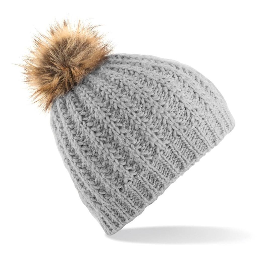 Faux Fur Pom Pom beanie, hat, headwear, bobble, knitted ...