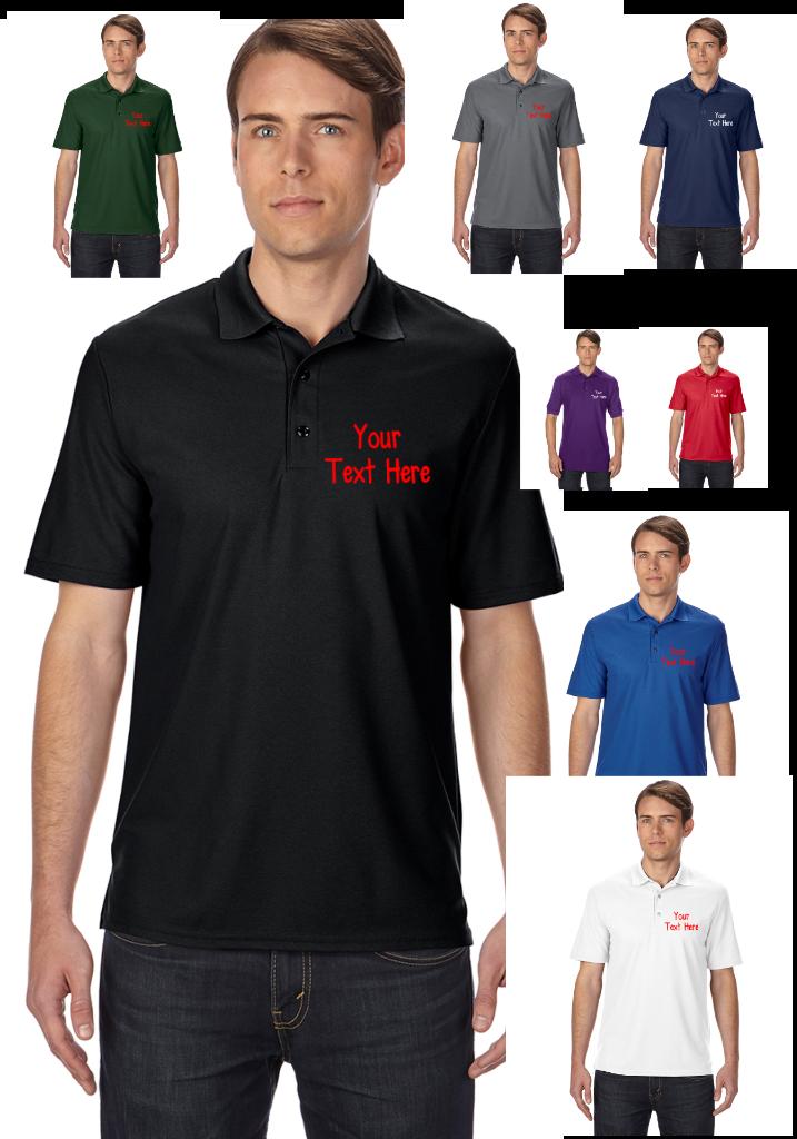 Gildan personalised custom printed polo shirts shirt work for Custom printed golf shirts
