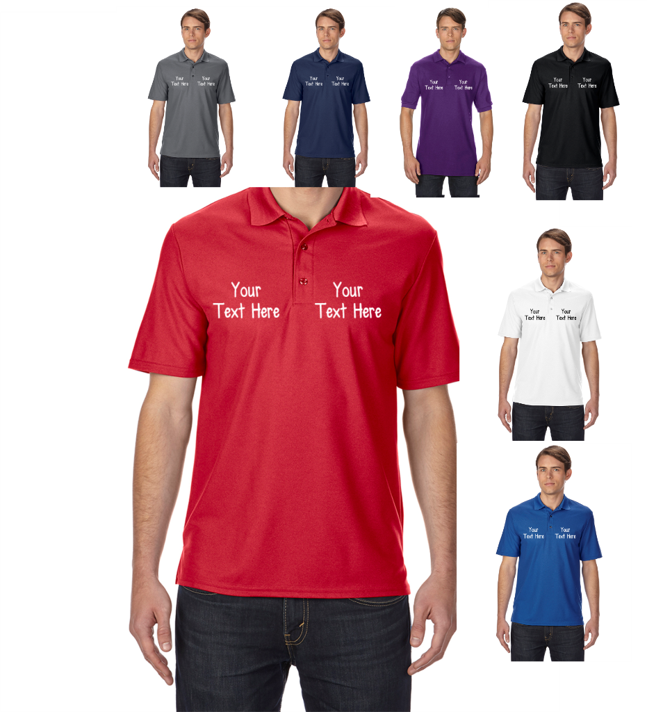 Gildan personalised custom printed polo shirts shirt work for Custom printed dress shirts
