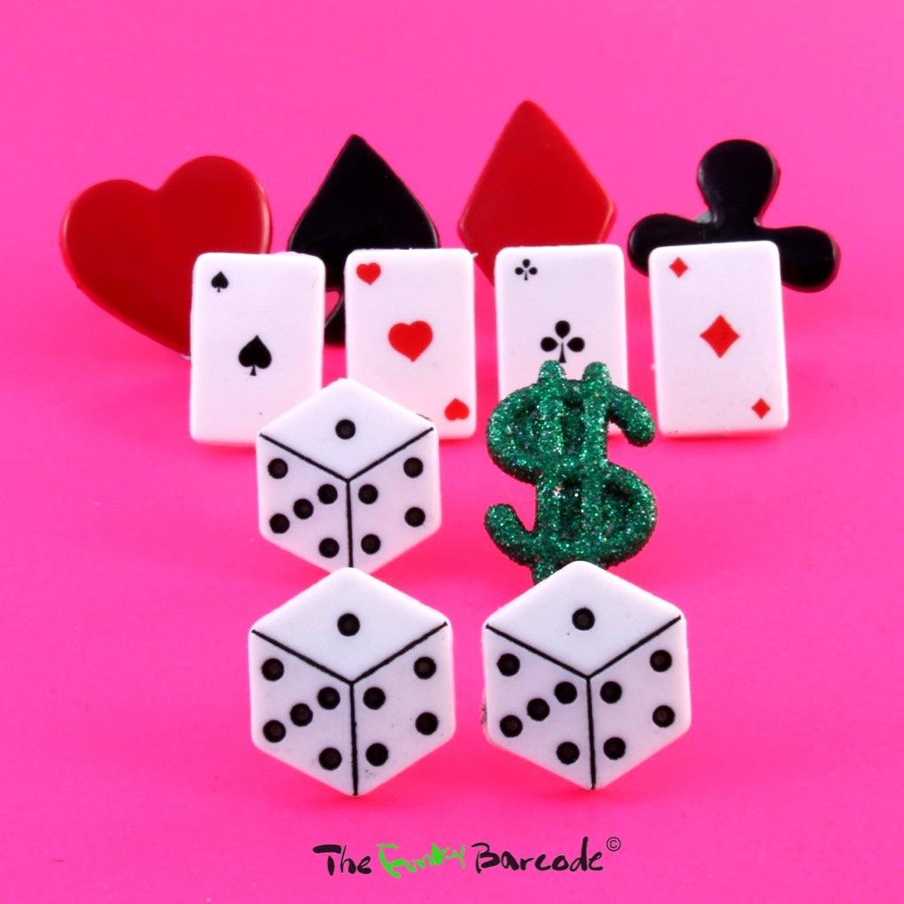 Funky casino poker stud earrings vegas cards game quirky for Quirky retro gifts