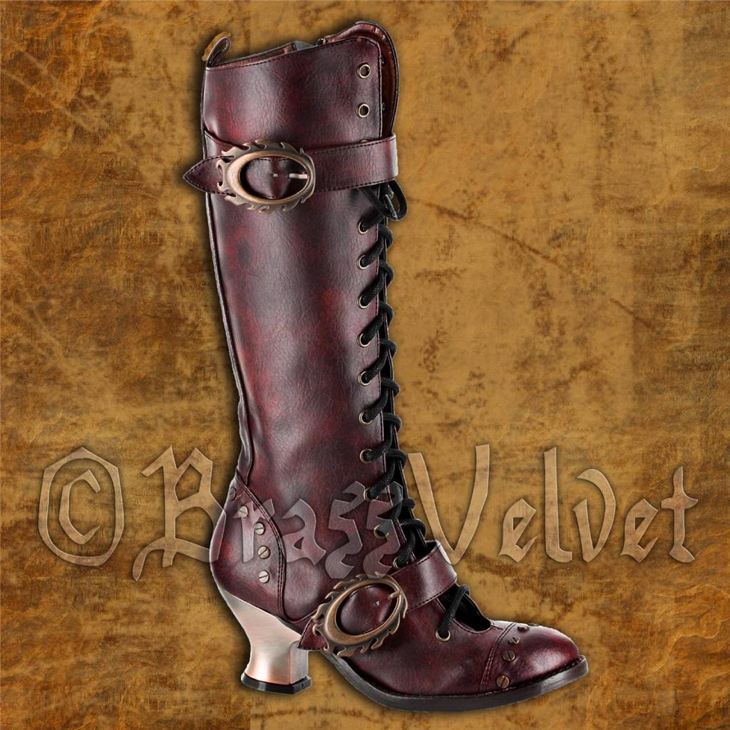 Womens-Steampunk-Vintage-Goth-Knee-High-Boots-Hades-Funky-Industrial-Punk-Shoes