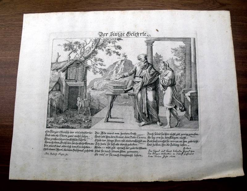 1756-Fuessli-Original-EINBLATTDRUCK-JUNGE-GELEHRTE-Cicero-Plato-PHILOSOPHIE
