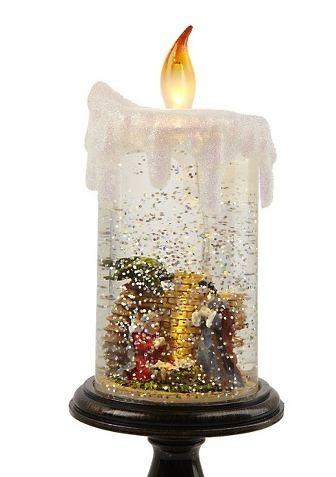Winter Lane Glitter Christmas Candle Nativity or Snowman Pillar Flameless