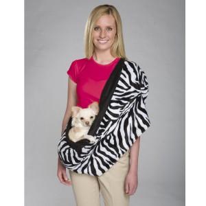 Reversible Sling Pet Dog Cradle Carrier Zebra/Black