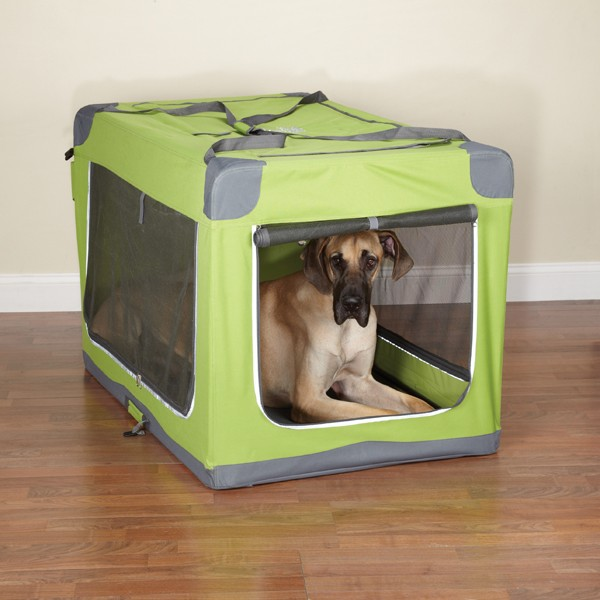 Guardian gear pioneer soft dog crate fold down xl green ebay for Xl soft dog crate
