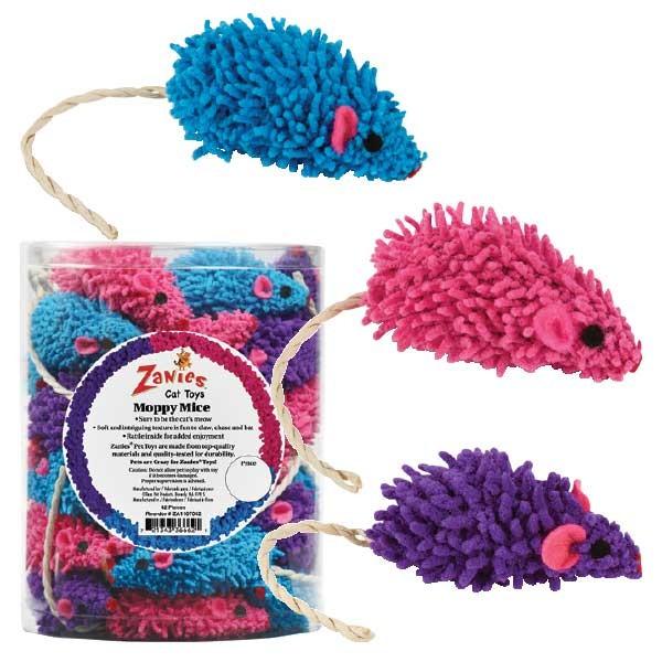 Zanies Moppy Mice Cat Toy w/ Twine Tail and Rattle Inside