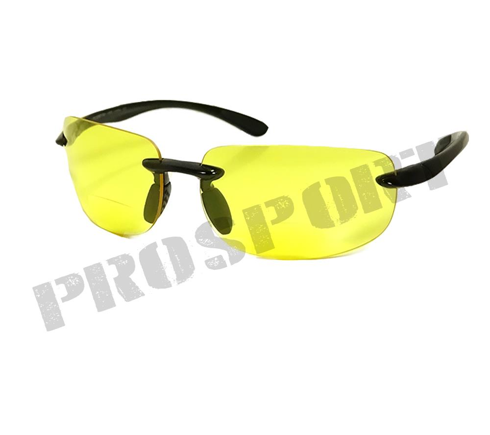 Rimless Bifocal Glasses : Rimless bifocal glasses yellow tinted night riding driving ...