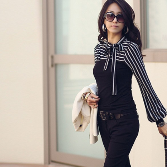 New Women/Ladies Long Sleeve T-shirt top blouse black & white size 6 8,10,12,14