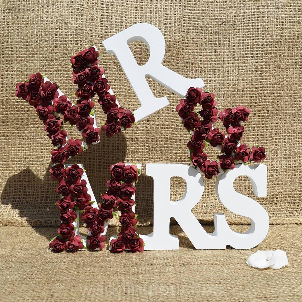 Mr and mrs letters sign white wood wedding gift mr mrs for Furniture 5 letters word whizzle