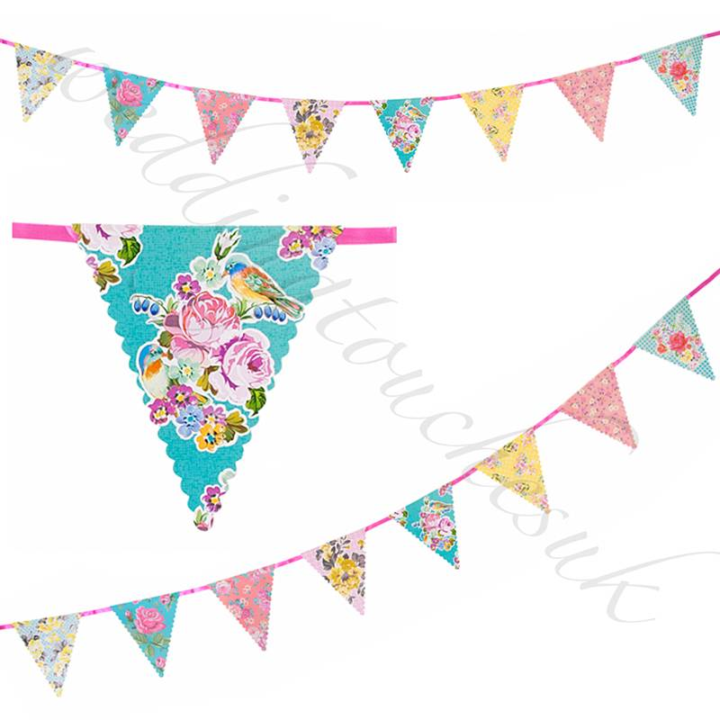Floral Bunting Banner Garland Wedding Tea Party Bunting Garden Party Decoration