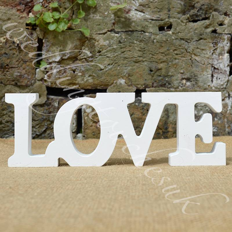 New wooden free standing love letters love words home for Decoration 5 letters