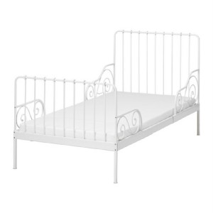 Used ikea minnen extendable white metal childrens bed frame and slatted base - Ikea kids bed frames ...