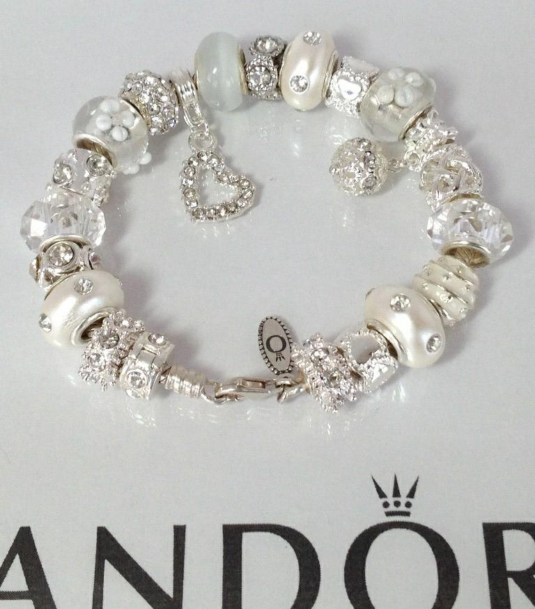 authentic pandora silver charm bracelet murano snow white