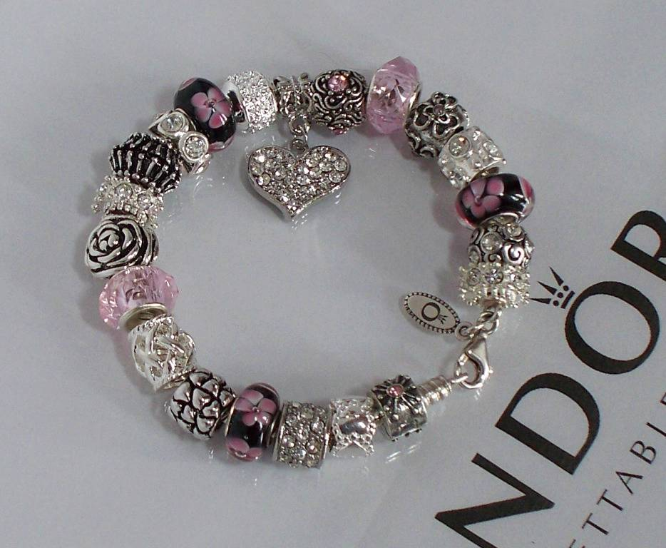 authentic pandora 925 sterling silver charm bracelet pink. Black Bedroom Furniture Sets. Home Design Ideas