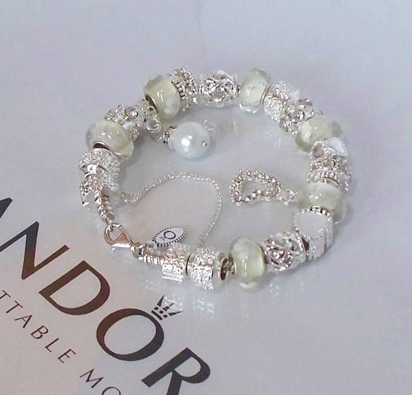 Pandora 925 Silver Charm Bracelet Snow White Wedding Anniversary Gold