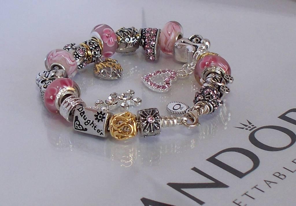 authentic pandora sterling silver charm bracelet pink gold. Black Bedroom Furniture Sets. Home Design Ideas