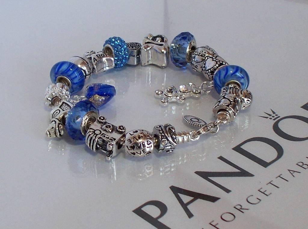 authentic pandora 925 sterling silver charm bracelet blue. Black Bedroom Furniture Sets. Home Design Ideas