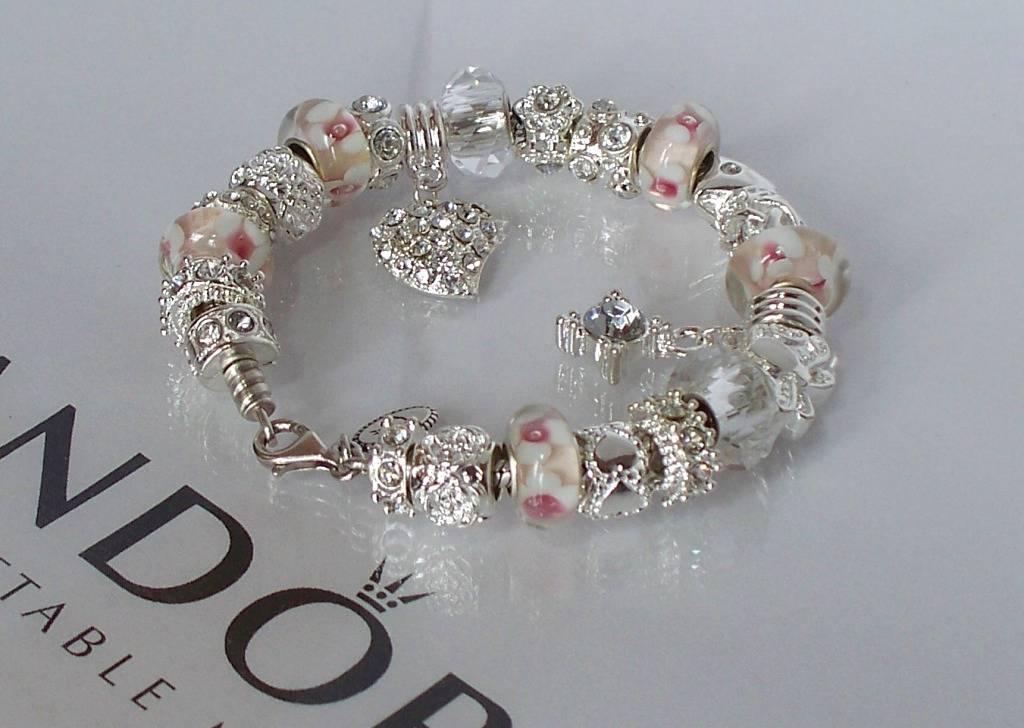 Authentic Pandora Silver Charm Bracelet White Pink Love