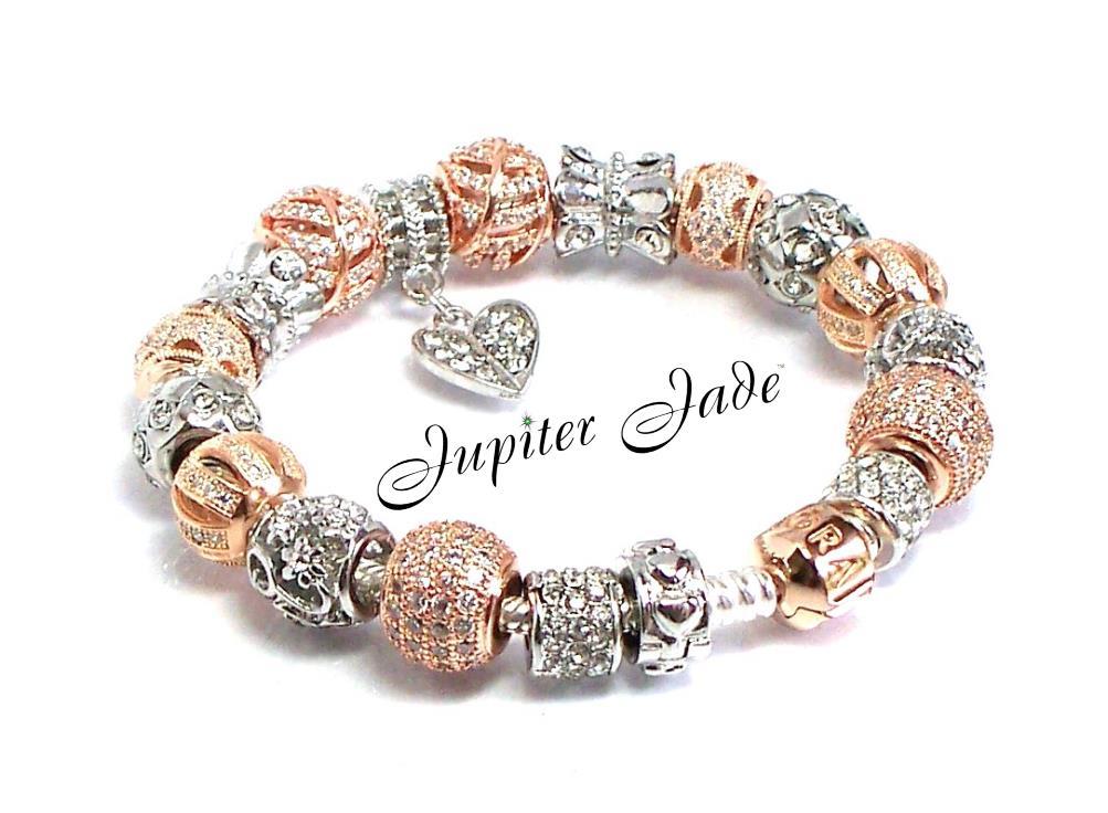 authentic pandora silver bracelet 14k rose gold clasp euro