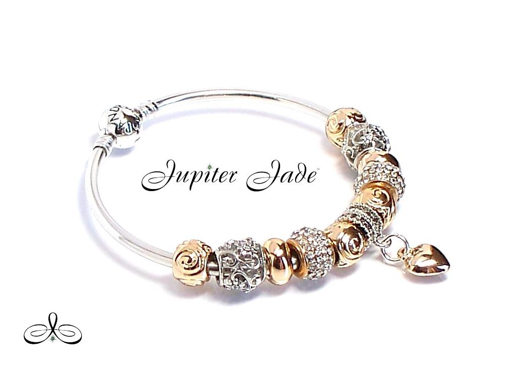 authentic pandora 925 silver charm bracelet bangle