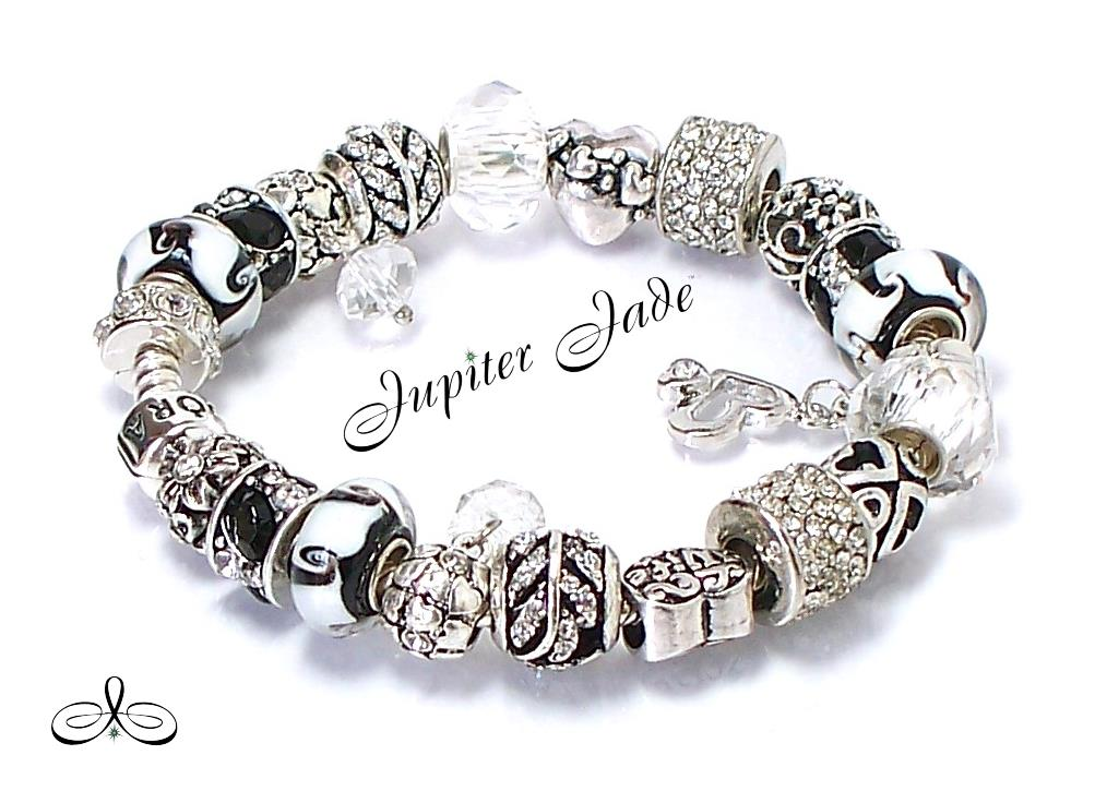 Authentic Pandora Silver Charm Bracelet Euro Charms Black