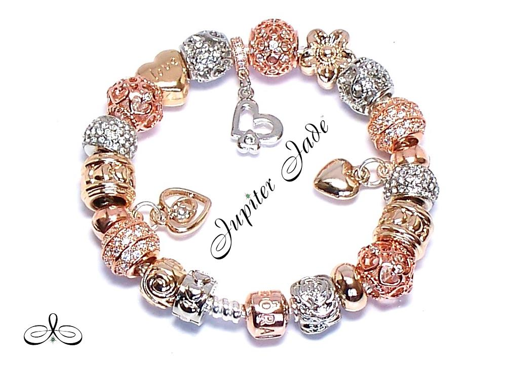 Authentic Pandora Rose Gold Clasp Silver Bracelet European