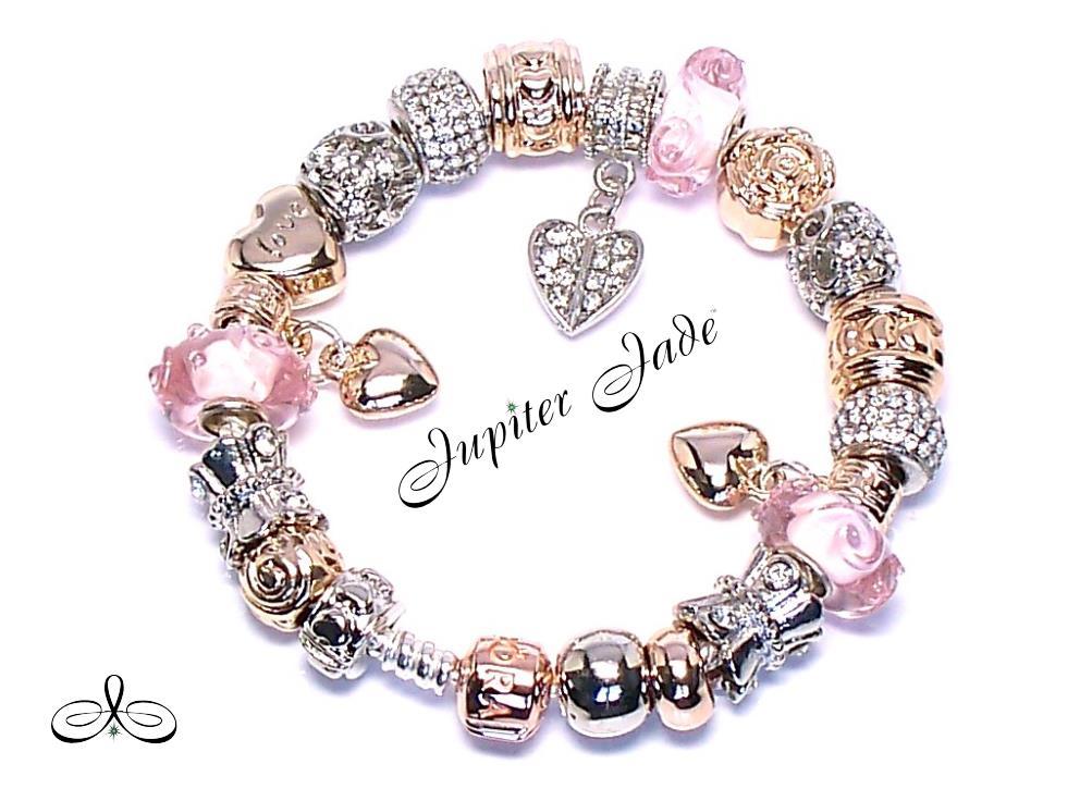 Pandora silver bracelet 14k rose gold clasp euro charms pink platinum