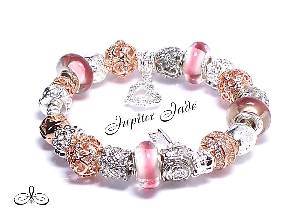 Authentic Pandora Silver Charm Bracelet Rose Gold Clasp