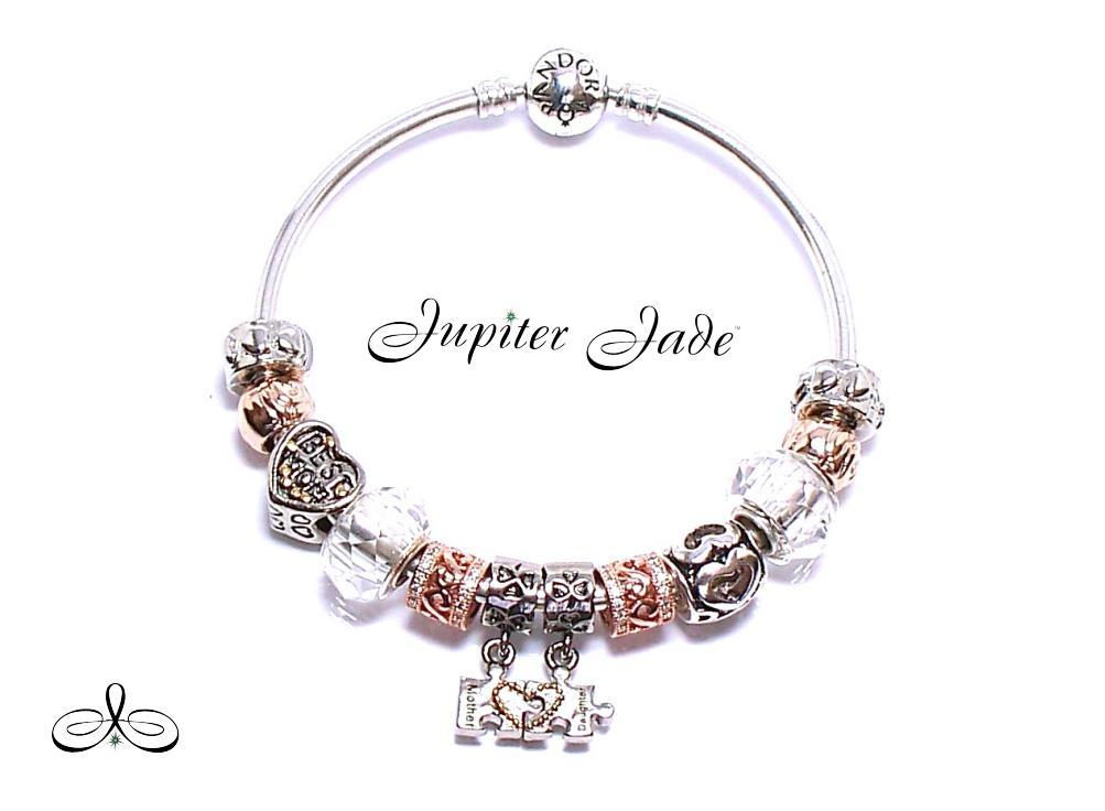 Authentic Pandora Silver BANGLE Bracelet Rose Gold Euro ... Gold Charm Bracelets For Girls