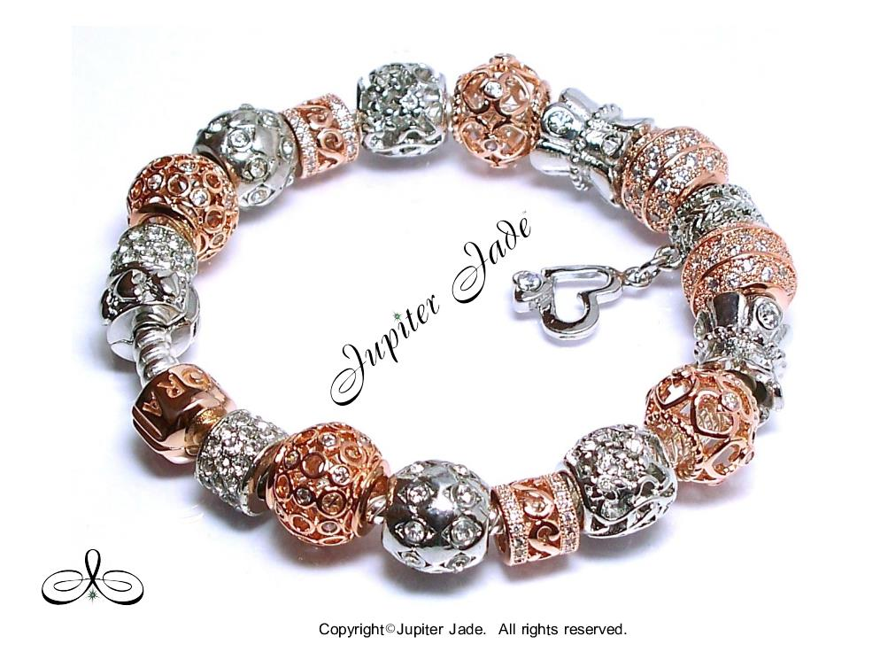 Authentic Pandora Rose Gold Clasp Silver Charm Bracelet ...