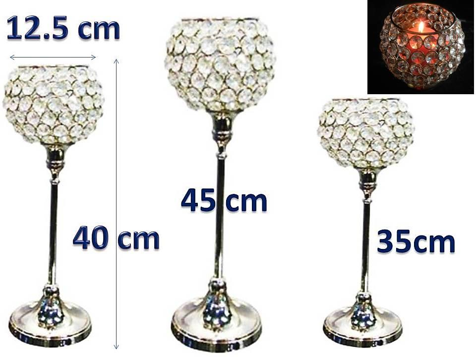 3-Genuine-Crystal-Votive-Candle-Holder-NOT-ACRYLIC-Wedding-House-Gift-35-40-45cm