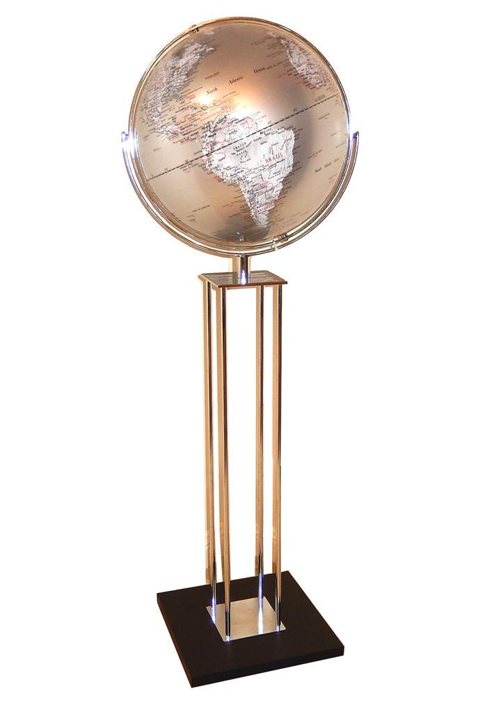 Giant World Globe Floor Stand Silver Black Teal Wedding