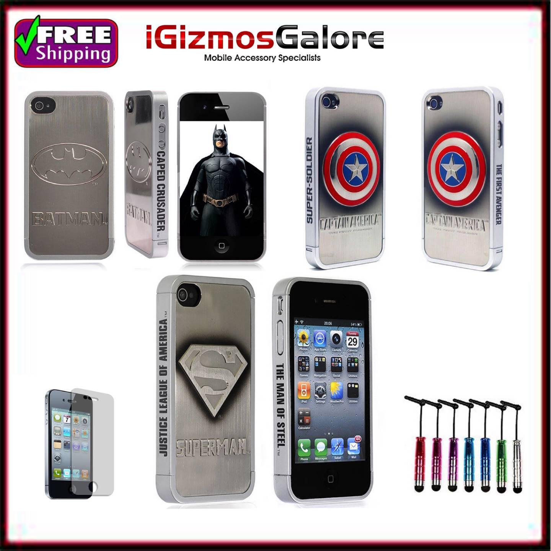 New-Iphone-4-4S-Superhero-Case-Captain-America-Batman-Superman-Aluminium