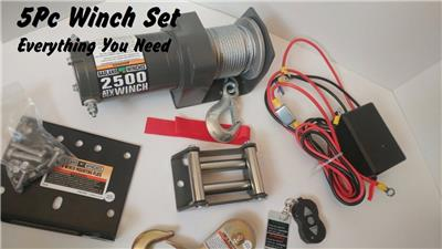 Badland Winch 2500lb Complete Kit - Remote*Control*Mount*Fairlead*Snatch Hook | eBay