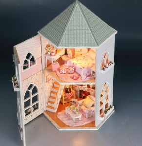 doll house princess love castle led lighting furniture. Black Bedroom Furniture Sets. Home Design Ideas