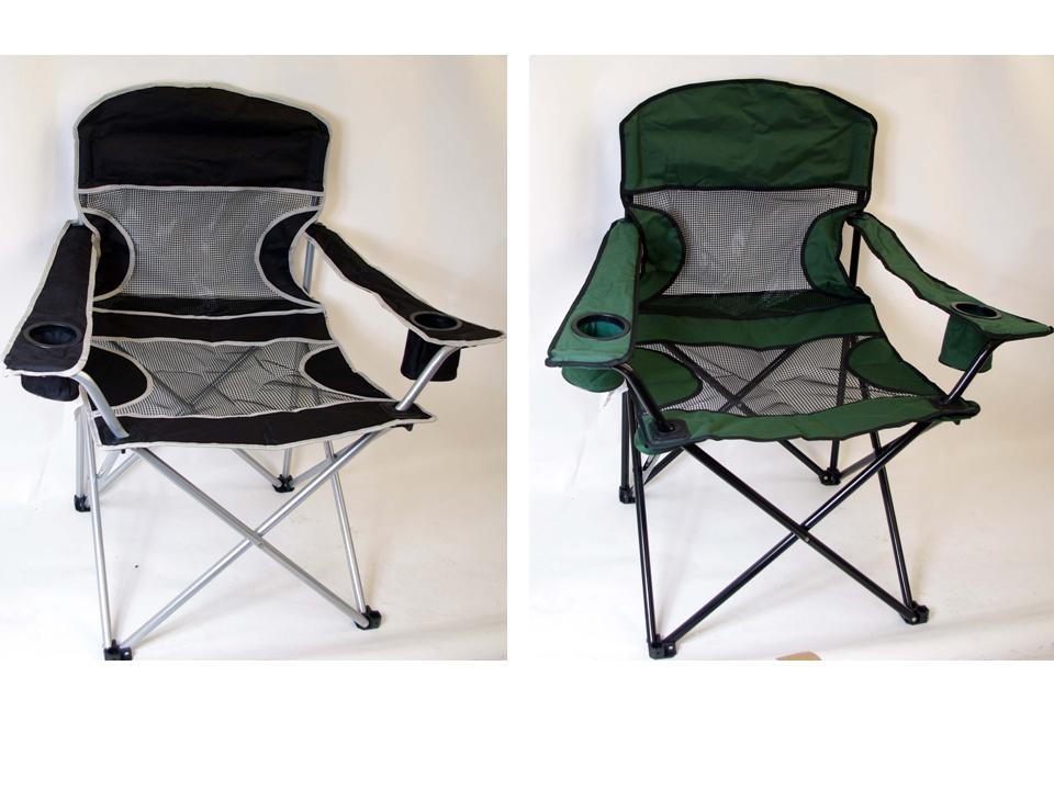 New Folding Outdoors Mesh Canvas Chair with 2 Drinks