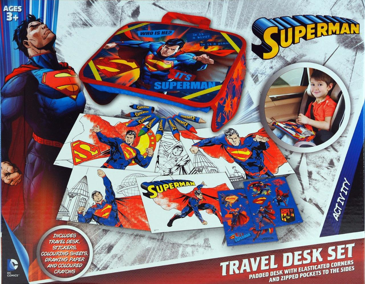 Batman Superman Kids Travel Tray Desk Set Art Stickers