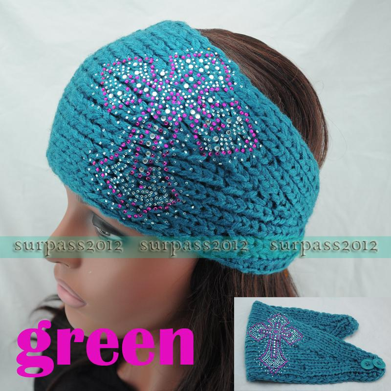 Knit Pattern Headband With Button Closure : Colored Crysta Cross Headband Knit Hairband Women Crochet ...