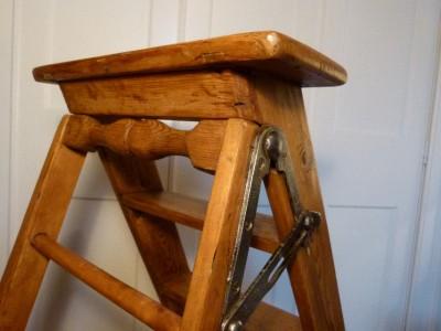 Vintage Industrial 1930s Antique Wooden Step Ladder