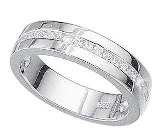 Sterling-Silver-5mm-Clear-1-2-Channel-Set-Wedding-Band-Ring-4-20grams-I-V
