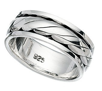 Sterling-Silver-Mens-8mm-Twist-Rotating-Wedding-Ring-8-grams-Sizes-P-Z