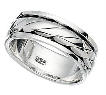 Sterling-Silver-Mens-8mm-Twist-Rotating-Wedding-Ring-8-grams-Sizes-P-Z