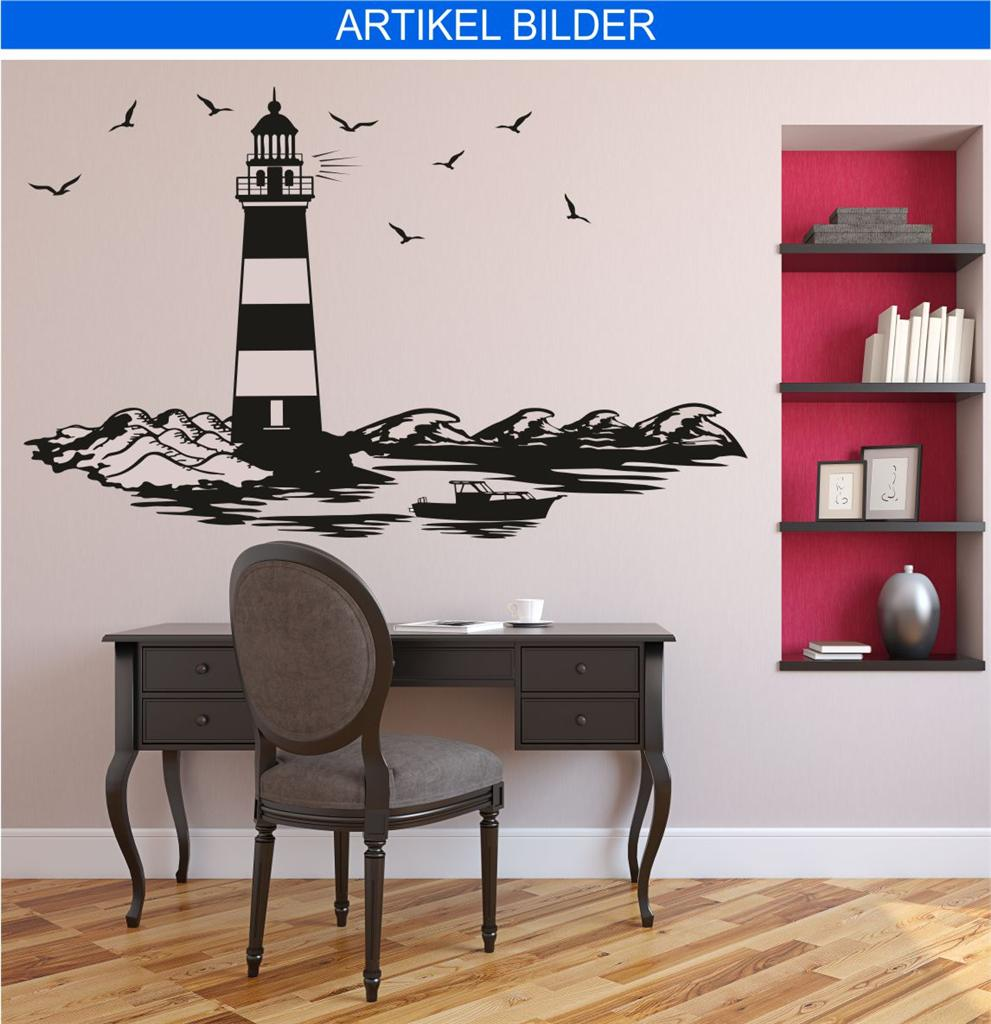 wandtattoo leuchtturm meer see maritim landschaft skyline nordsee n2 ebay. Black Bedroom Furniture Sets. Home Design Ideas