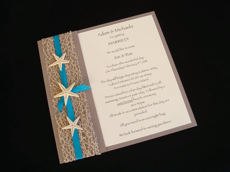 Urban Starfish Teal Beach Wedding Invitation Sample