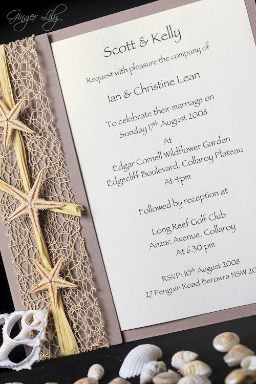Beach wedding invitation diy kit urban starfish natural invite 25