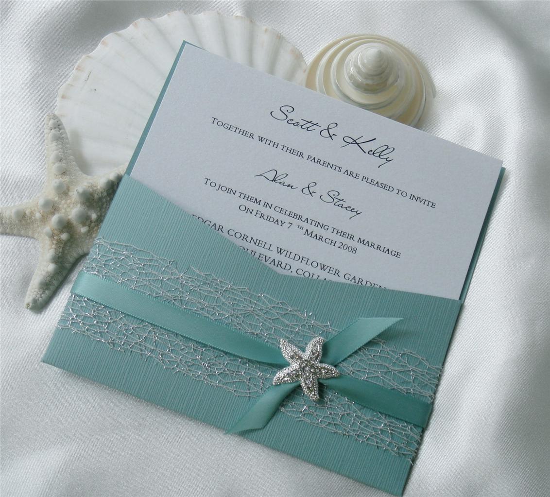 Wedding Invitation DIY Kit Reef Moonstone Pocket Invite 10 Pcs