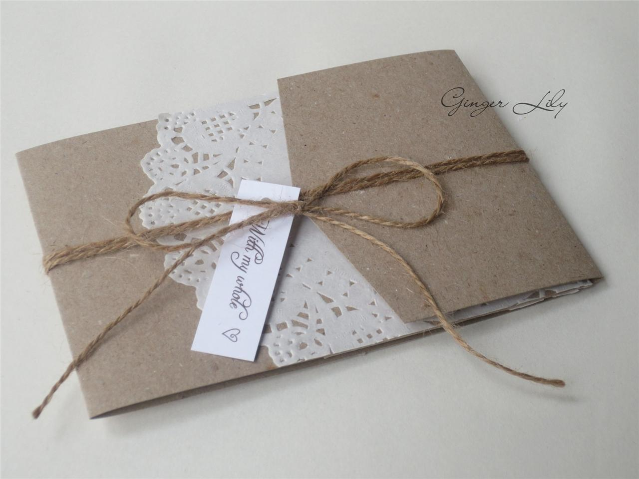 Paper Lace Doilie DIY Pocket Invite Kit Vintage Wedding Theme Makes 10