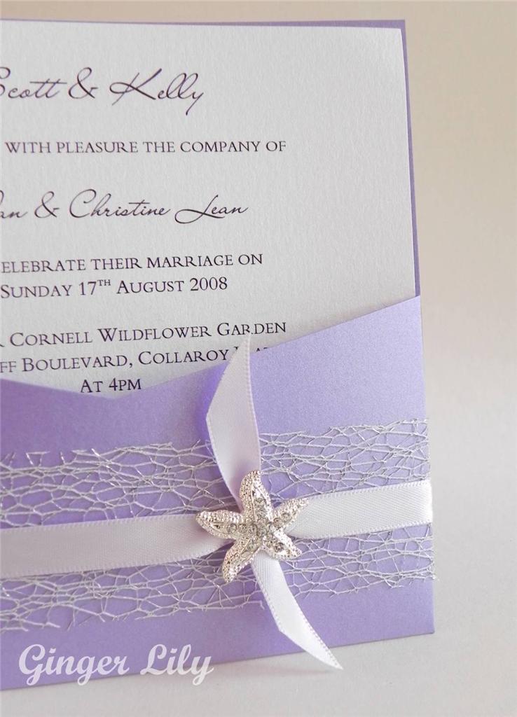 Sale beach wedding invitation diy kit reef lavender for Average wedding invitation cost australia