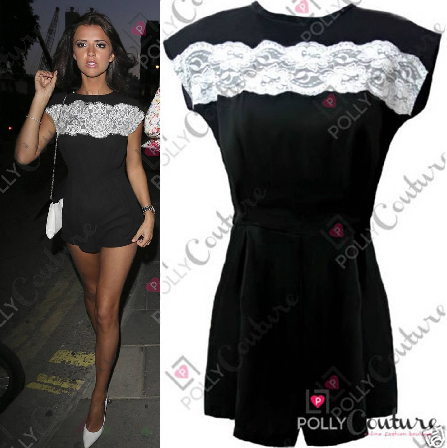 Womens party black lace mini going night out dress romper towie celeb